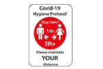 Covid-19 Hygiene Protocol maintain distance 1m sign (RED)